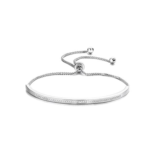 SHINCO Bella Lotus Half Bar CZ Paved 18k White Gold Plated Adjustable Chain Bracelets Women/Girls Fashion Jewelry, for Love, Thanks, Christmas, New Year