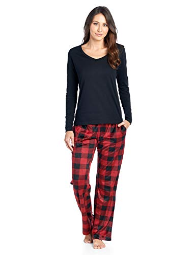 Check Set Pj (Ashford & Brooks Women's Long Sleeve Cotton Top with Mink Fleece Pants Pajama Set - Red Buffalo Check - Medium)