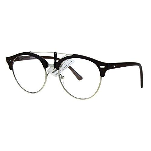 Mens Retro Hipster Half Horn Rim Clear Lens Eyeglasses Dark Wood Silver