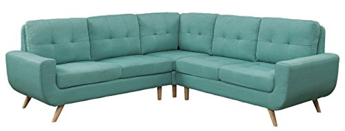 Surprising Homelegance Deryn 96 X 96 Sectional Sofa With Tufted Back Teal Fabric Caraccident5 Cool Chair Designs And Ideas Caraccident5Info