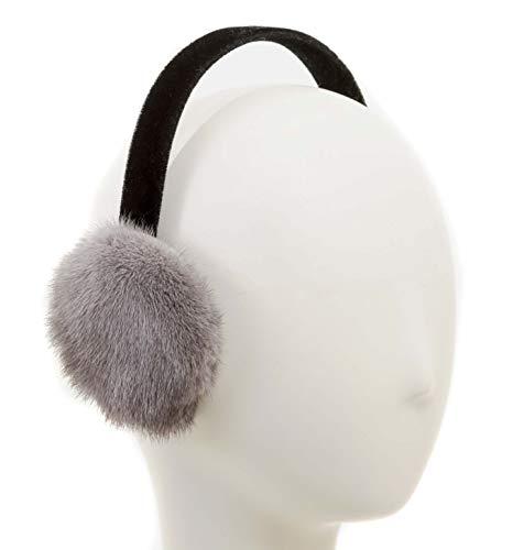 Surell Mink Fur Earmuff with Velvet Band, Ear Warmer, Winter Fashion (Grey)