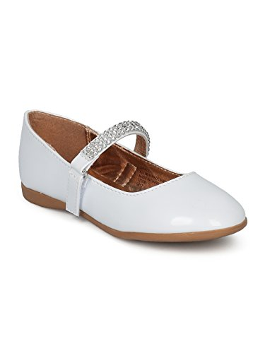 (Indulge Grace-01 Girls Round Toe Rhinestone Mary Jane Ballet Flat HC74 - White Patent (Size: Little Kid 12))