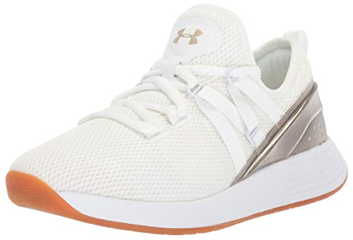Under Armour Women's Breathe Trainer Sneaker, White (102)/Metallic Faded Gold, ()
