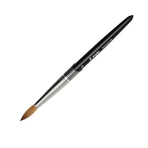 Size 8 Mitini 100% Kolinsky Sable Brushes Acrylic Nail Brush Professional Nail Art Tool Four Colors,Rounded Shape (NB-4-Black #8)