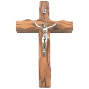 Olive wood Cross Crucifix from Bethlehem with a Certificate and Lord prayer card (5 Inches)