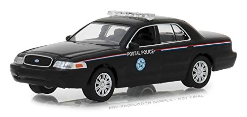 (2010 Ford Crown Victoria Police Interceptor United States Postal Service (USPS) Black Hobby Exclusive 1/64 Diecast Model Car by Greenlight 29971)