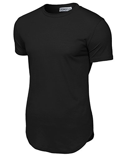 Mens Fitted Tee (Simple Designed Cotton Fabric Solid Color Shirt Tops ,008-black)