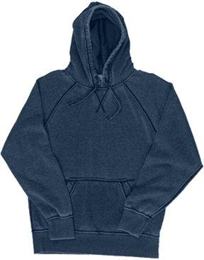 Vintage Distressed Pullover Hooded Sweatshirt- Navy