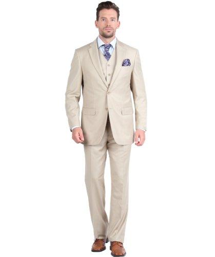 Giorgio Fiorelli mens Suit 2 Button 3 Piece Modern Fit 40S Beige by Giorgio Fiorelli