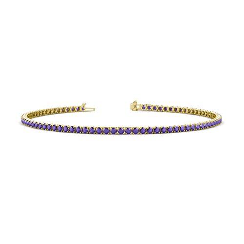 - TriJewels Iolite 2mm 4-Prong Tennis Bracelet 1.43 cttw in 14K Yellow Gold