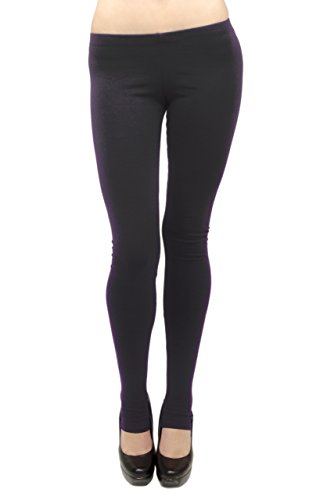 Vivian's Fashions Long Leggings - Cotton/Stirrup, Junior Size (Black, 2X)