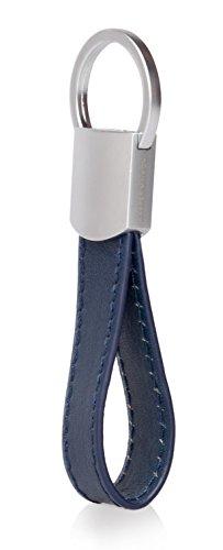 Kasper Maison Italian Leather Keychain - 4 Premium Keyrings - Elegant Packaging - Earphone Holder Included Blue (Keychain Small Leather)