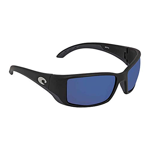 Costa Del Mar Blackfin Sunglasses, Black, Blue Mirror 580 Plastic Lens