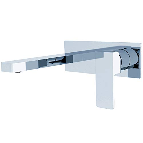 ZUKKI Full Copper Lead Free Bathroom Sink Faucet, Single Hole Wall Mounted Solid Brass Basin Mixer Taps, Basin Sink Mixer Tap Faucet Hot and Cold Spout Washroom faucet 3015-07A (CHROME) Chrome Wall Mounted Bathroom Faucet