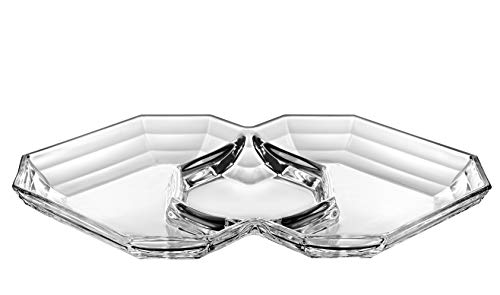 "Barski - European Quality - Glass - Three Sectional Serving/Relish Dish - 12.7"" Long x 8.6"" Wide - Made in Europe"