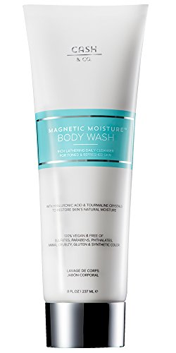 Magnetic Moisture Sulfate-free Body Wash, 8 fl oz with Hyaluronic Acid & Tourmaline for Ultra Soft Skin. Cleanses & Firms Skin. Anti-Aging. Vegan & Natural Ingredients. No Parabens. (Best Body Wash For Anti Aging)