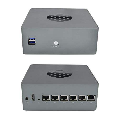 QOTOM Pfsense Mini PC Q655G6 with Intel Core i5-7400 Processor, Quad core 3.3 GHz, up to 3.5 GHz, AES-NI (8G DDR4 RAM+128G M.2 SSD) with 6X Gigabit Intel LAN Ports