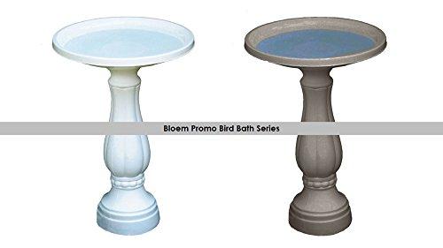 "Bloem Promo Bird Bath with Pedestal, 25"" x 17"", White (270-10)"