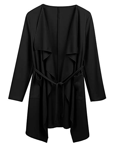 Dealwell Womens Long Sleeve Pocket Waterfall Cardigan Thin Belted Wrap Trench Coat (Black, Medium)