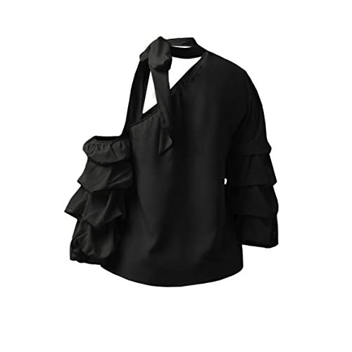 72ab77fd685bb high-quality Meilidress Womens Layered Ruffle Blouse One Shoulder Bell 3 4  Sleeve Tie