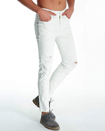 Ripped Hole Chino Blanco Jeans Clásico Los Fashion Slim Fit Chicos Knee Pants Destruido De Destoryed Pantalones Hombres Pantalones Agujeros Casuales xFfqw0XIH