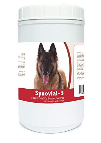 Belgian Tervuren Breed - Healthy Breeds Synovial 3 Dog Hip & Joint Support Soft Chews for Belgian Tervuren - OVER 200 BREEDS - Glucosamine MSM Omega & Vitamins Supplement - Cartilage Care - 240 Ct
