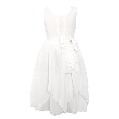Flower Girl Kids Dress Rulffled Chiffon White 130 (White Chiffon Flower Girl Dress)