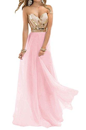 Festkleid Linie Steine Ivydressing Damen Beliebt Lang Rosa Promkleid Chiffon A Abendkleid Herz Ausschnitt 1vwBA4wq