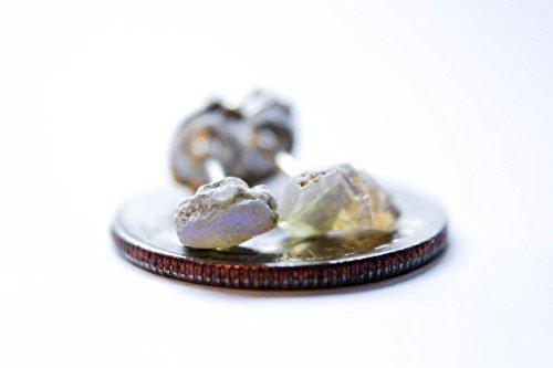 Goddess Angel Earrings (Raw Opal Earrings - Bohemian Earrings - Solid Sterling Silver Stud Posts)
