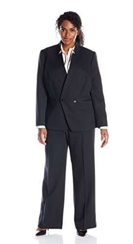 Tahari ASL Women's Plus-Size Reena Pant Suit, Black/White, 14W