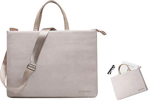 Microfiber Laptop Tote Bag - Zoppen Microfiber PU Leather Laptop Tote Bag Briefcase with Adjustable and Detachable Shoulder Strap for Women Fits 14 inch Laptop,Grey