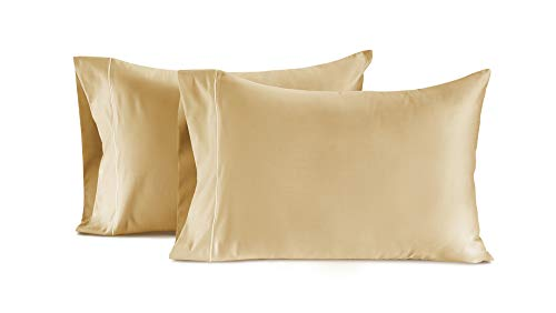 CHATEAU HOME COLLECTION Luxury 100% Egyptian Cotton 800-Thread-Count Egyptian Cotton Deep Pocket Sateen Weave, Set of 2 King Pillowcases - Semolina
