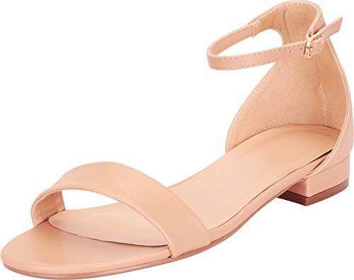 Cambridge Select Women's Single Band Buckled Ankle Strap Low Block Heel Sandal,10 B(M) US,Nude PU