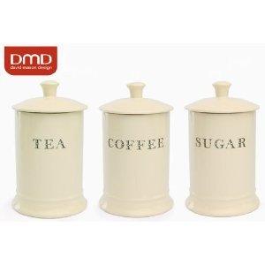 majestic cream ceramic tea coffee sugar storage canisters. Black Bedroom Furniture Sets. Home Design Ideas