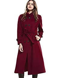 be4b66adc Women's Wool Trench Coat Winter Double-Breasted Jacket with Belts