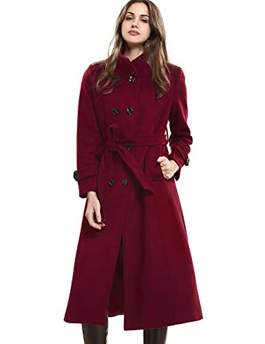 - Escalier Women's Double-Breasted Trench Coat Wool Jacket with Belt Wine L