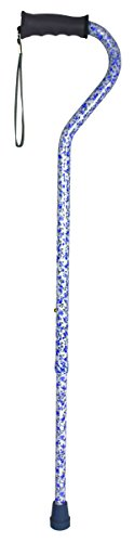 Carex Ergo Offset Cane, Blue Floral, 0.87 (Blue Offset Handle)