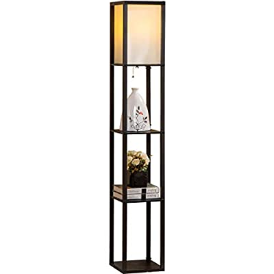 Oneach Arterton Modern Shelf Floor Lamp with Open-Box Shelves Diffused Lighting for Reading Living Room and Bedroom