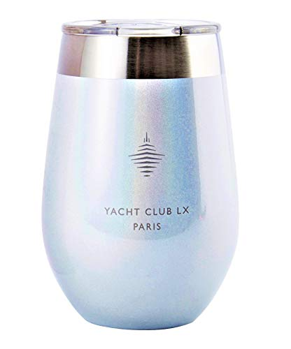 Yacht Club LX 12 oz Insulated Stemless Wine Glass Tumbler with Velvet Wrapped Pouch - Paris Magic Glitter White with Eiffel Tower icon (White Wine Tower)