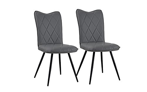 Set of 2 Dining Chairs Faux Leather Kitchen Chairs for Dining Room (Grey)