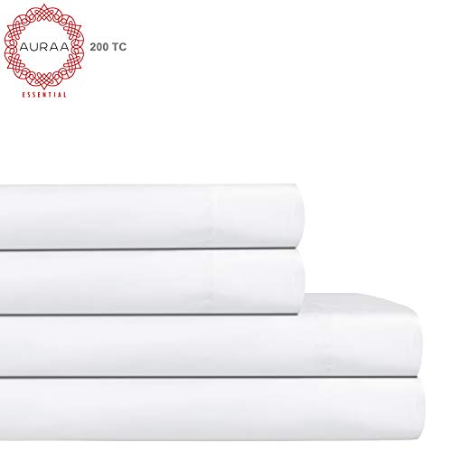 (AURAA ESSENTIAL 100% Long Staple Cotton Sheet Set - Queen Sheets - 4 Piece Set,Soft & Smooth Percale Weave,16
