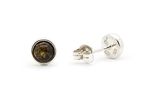 925 Sterling Silver Round Stud Earrings with Genuine Natural Baltic (Silver Green Amber Earrings)