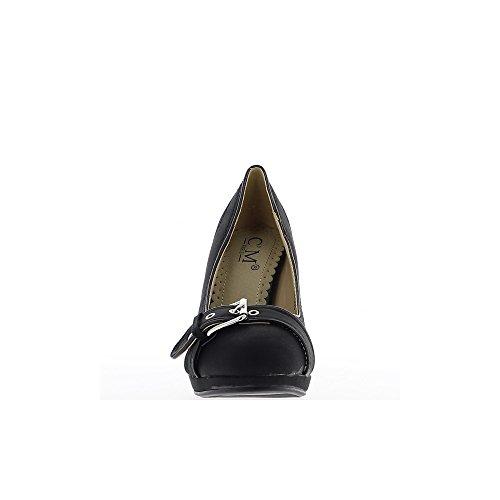 Scarpe donna nera al fine di tacco di 9,5 cm e plateau di 1,5 cm