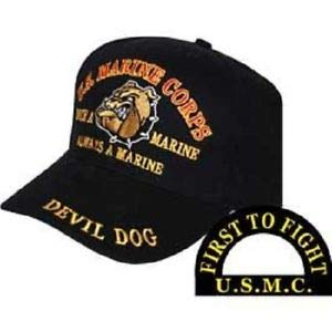 (JumpingLight Marines Once a Marine Corps EGA Devil Dog First to Fight Embroidered Cap Hat for Home, Official Party, All Weather Indoors Outdoors)