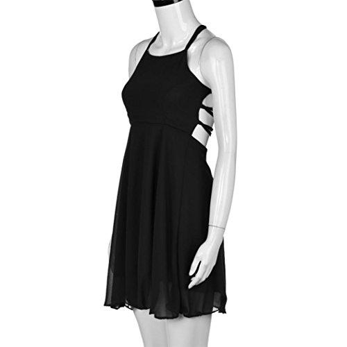 SET-SAIL Frau Sommer Sexy Halter Lace Neckholder Tie Chiffon Minikleid Resort Bar Kleid Schwarz