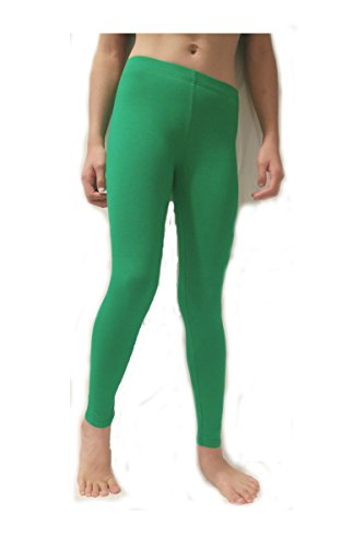 Stretch Cotton Bodysuit Activities Girls' Soft Cotton-Spandex Leggings Tights Stretch Skinny Full Length (Small(6), Kelly Green_Prime) -