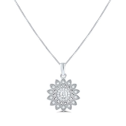 Sterling Silver Cz Sunflower Charm Necklace 18