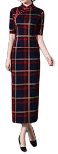Qipao Stretch Plaid Red Cruiize Womens Cheongsam Slim Long Dress Vintage 1HqFwRExB