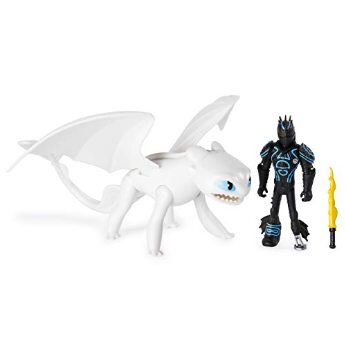 Dreamworks Dragons, Lightfury and Hiccup, Dragon with Armored Viking Figure, for Kids Aged 4 and Up (Toothless Target)