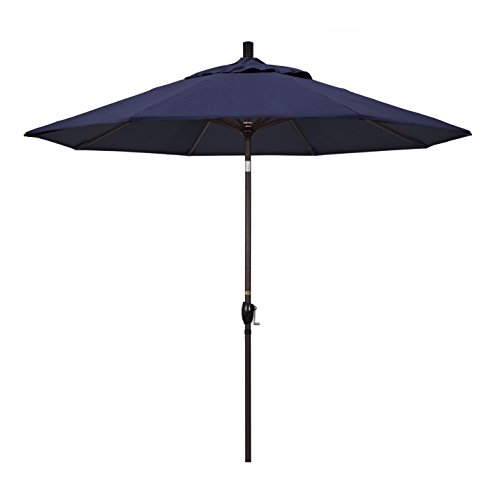 California Umbrella 9' Round Aluminum Market Umbrella, Crank Lift, Push Button Tilt, Bronze Pole, Sunbrella Navy ()
